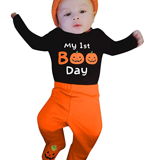 cae70e5c4354 Amazon.com  3Pcs Newborn Baby Girl Boy Halloween Clothes Set Pumpkin Romper  Top + Pants with Hat Outfits Kids Clothing (0-6 Months