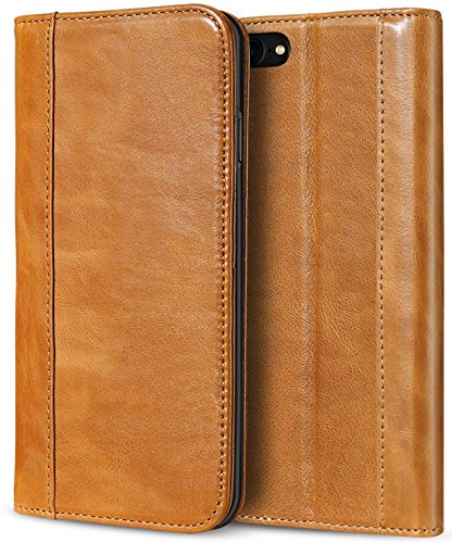iPhone 8 Case / iPhone 7 Genuine Leather Case, ProCase Vintage Wallet Folding Flip Case with Kickstand Card Holder Protective Cover for Apple iPhone 8 / iPhone 7 -Brown (Foldable Leather Cover)