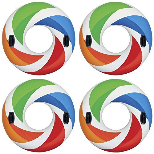 Intex Inflatable 47'' Color Whirl Tube Swimming Pool Raft with Handles (4 Pack) by Intex