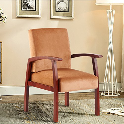 Harper&Bright Design Guest Chairs Reception Chairs with Armrest Arm Chair Office Furniture (Light Brown) by Harper&Bright Design