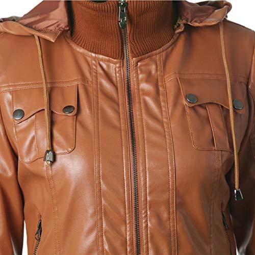 Giacchetto Giacca In Vicgrey Donna Chiodo Di ❤ Biker Giubbotto Da Marrone Moto Pelle Slim H7wPaq4