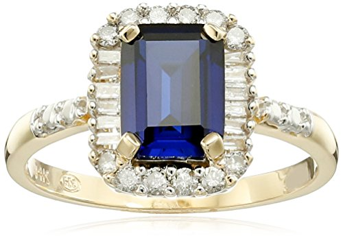 14k-Yellow-Gold-Created-Blue-Sapphire-and-Diamond-Accent-Ring-Size-7