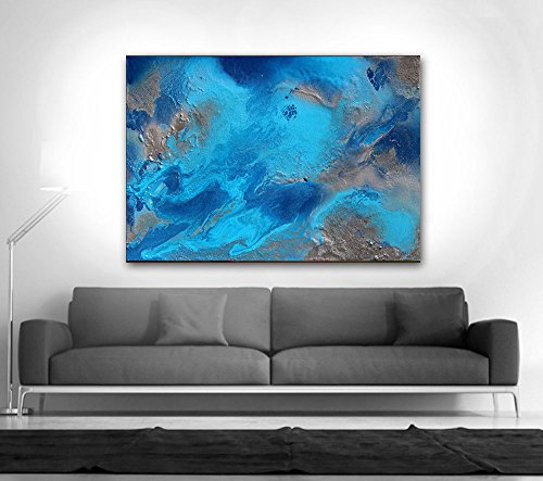 Hand made texture Ocean Painting Blue Abstract Art Turquoise on Canvas Silver Painting Aqua Modern Abstract Huge Wall Decor 11 by Fchen Art