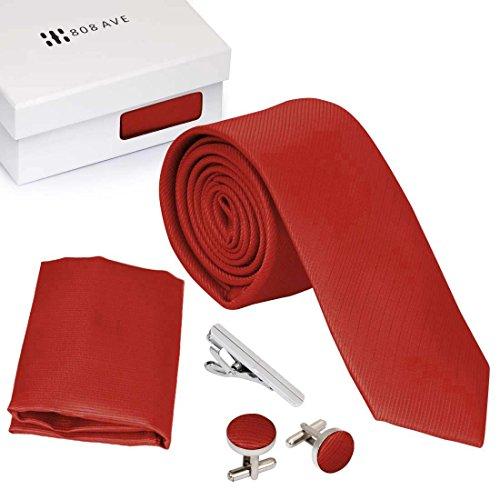 Bundle Monster Mens Skinny Tie Necktie 4pc Set Accessory for Weddings Red