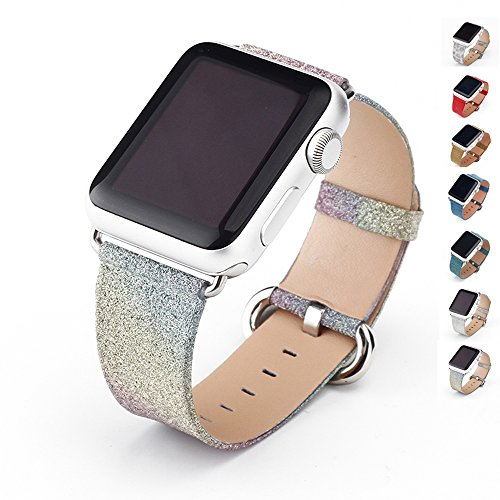 MIFFO Apple Watch Band Leather iWatch Strap Extreme Deluxe Shiny Bling Glitter Leather Bracelet Wristband for Apple Watch Series 1, Series 2 Sport Edition (Rainbow-38mm)