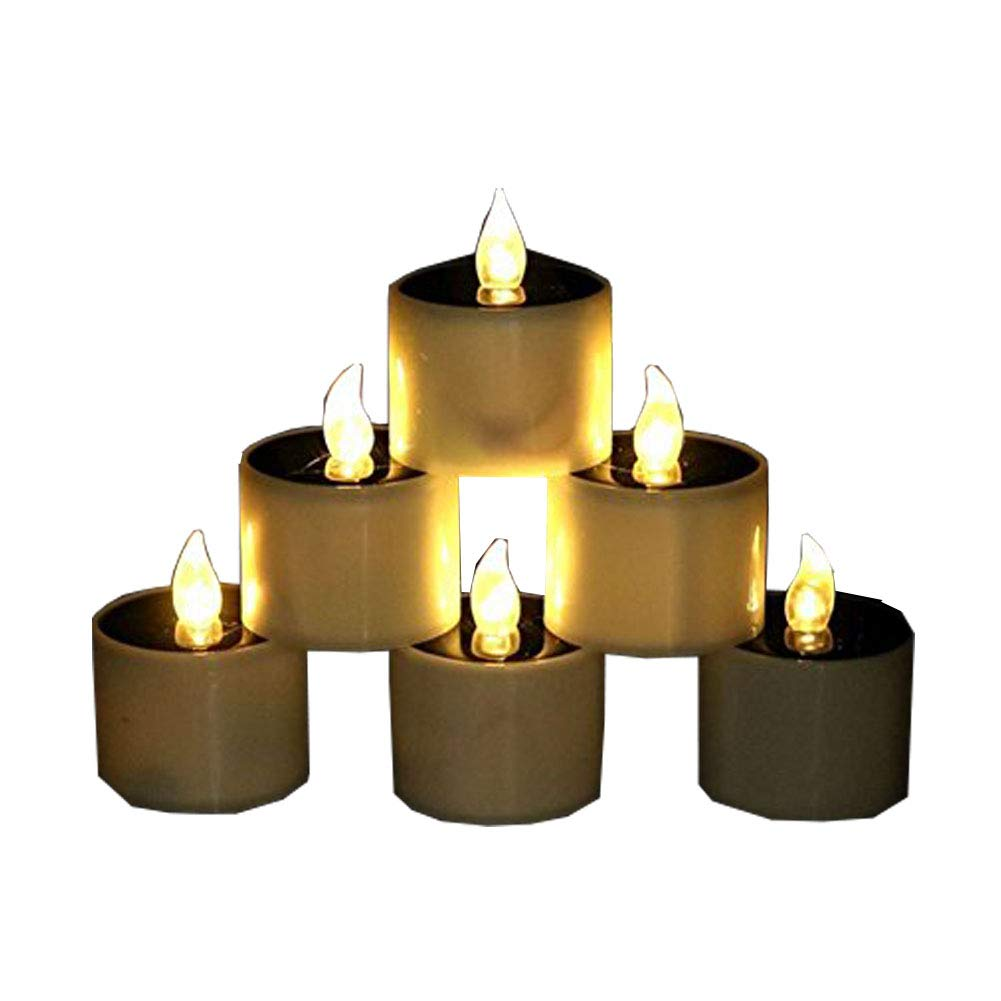 6 Pcs Smokeless Flame Solar Candle Light, Wedding Antic Birthday Party Decoration and Energy-Saving Small Candle Lights (Yellow Flickering)