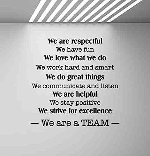 We are A Team Wall Decal Office Poster Teamwork Quote Sign Motivational Gift Inspirational Lettering Word Cloud Vinyl Sticker Print Business Wall Art Room Design Decor Poster Custom Mural 982 (Word Art Custom)
