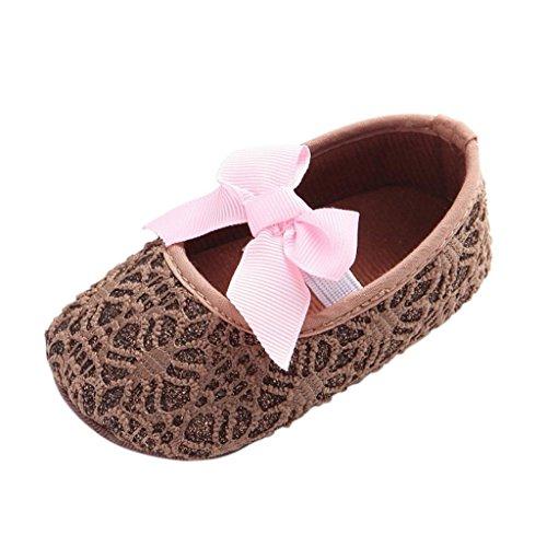 Zapatos de bebé,Tongshi Cuna De Niño Niña Zapatos Zapatillas De Bebé Antideslizante Suela Suave Flor Recién Nacida Brown
