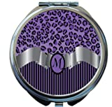 Rikki Knight Letter''M'' Purple Leopard Print Stripes Monogram Design Round Compact Mirror