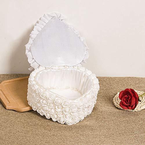 VU ANH TUAN Store Flower Ring Box 1Pcs Heart-Shape Rose Flowers Ring Box Romantic Wedding Jewelry Case Ring Bearer Pillow Cushion Holder