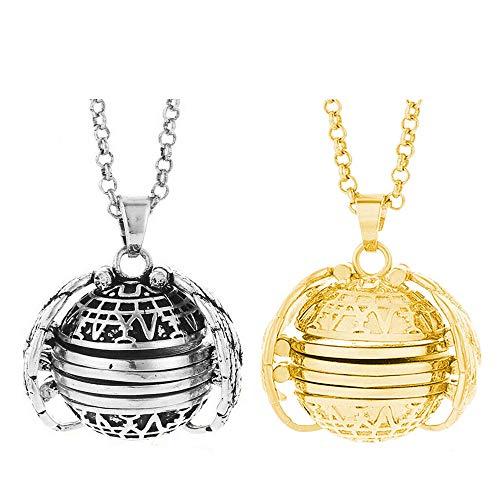 (Cherislpy 2PCS Expanding Photo Pendant Necklace 4 Photos Locket Necklace Vintage Bronze Tone Angel Wing Pendant Jewelry for Women Girls (Gold+Bronze))