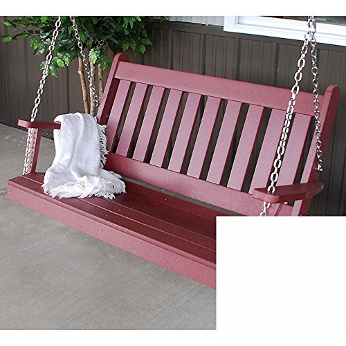 A&L Furniture Co. Traditional English Recycled Plastic Porch Swing (4 Foot, Bright White)