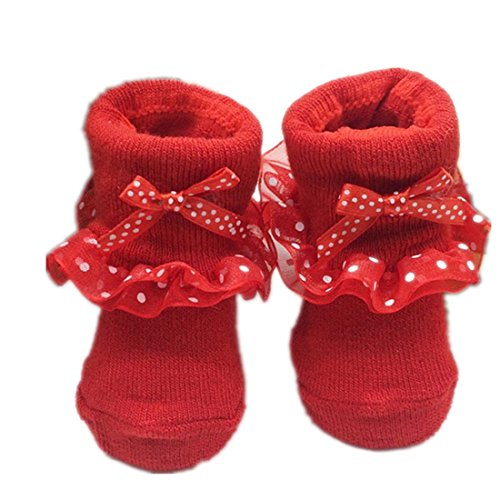 (Voberry Newborn Baby Girls Lace Bowknots Casual Socks Ballet Shoe Anti Slip Skid Lovely Socks ((One size, red))