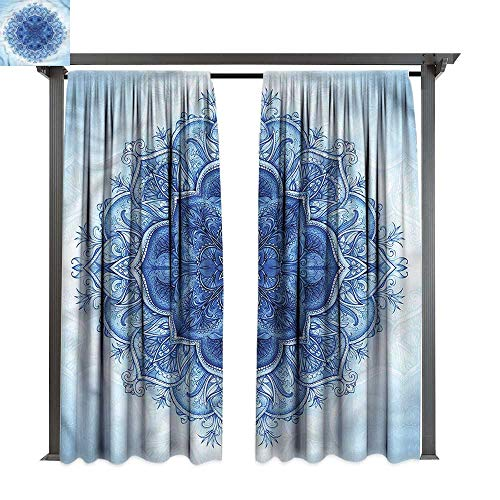 cobeDecor UV Protectant Indoor Outdoor Curtain Panel Royal Blue Oriental Classic Mandala for Lawn & Garden, Water & Wind Proof W108 xL108