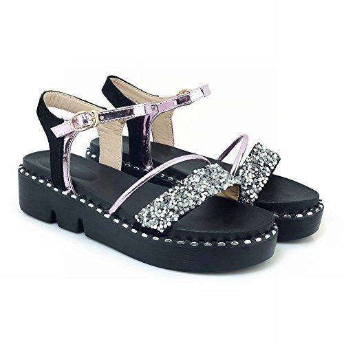 Carolbar Women's New Style Sequins Platform Buckle Casual Sandals Pink ztoxbEbh