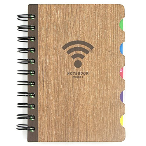 Vintage Wood Cover Spiral Notebook Hard Cover Diary Planner Pocket Journal Notepad Memp Pad with Colorful Index Paper Dividers,112 Sheets Lined Paper (Subject Divider Books)