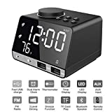 Foreita Digital Alarm Clock, Bluetooth Speaker with Dual Snooze Clock USB Charging Port, AUX TF Card Play, Thermometer, Large Mirror LED Dimmable Display for Bedroom, Kitchen, Table, Desk
