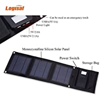 Logisaf Solar Charger with 3 High efficiency Monocrystalline Silicon Solar Panels for iPhone 6s / 6 / Plus, SE, iPad, Galaxy S6/S7/ Edge/ Plus, Portable Dual USB Battery Bank (Black)