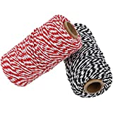 328 Feet Cotton Baker's Twine Spool 10 Ply,Crafts Twine String for DIY Crafts and Gift Wrapping (Black and White-1pcs)