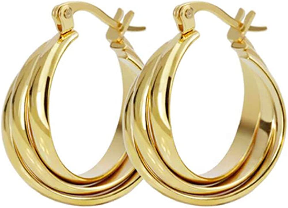 Three Hoops Flat Stainless Steel 14K Yellow Gold Fashion Wide Chunky Hoop Earrings for Women Girls Sensitive Ears Dainty Huggie Hoops Piercing Click Top Hypoallergenic Jewerly Gifts