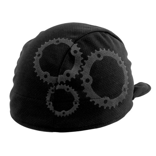 Headsweats Shorty Gears Performance Cycling Skull Cap, Black/Grey, One Size Fits All (Sprocket Skull)