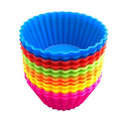 SAWNZC Reusable Silicone Baking Cups Non-stick Muffin Liners Cups Cupcake Cake Molds, 12 Packs Standard Size in 6 Rainbow Colors (Flexible Muffin Mold)