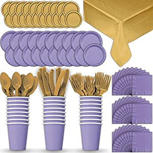 Paper Tableware Set for 24 - Lavender & Gold - Dinner and Dessert Plates, Cups, Napkins, Cutlery (Spoons, Forks, Knives), and Tablecloths - Full Two-Tone Party Supplies Pack