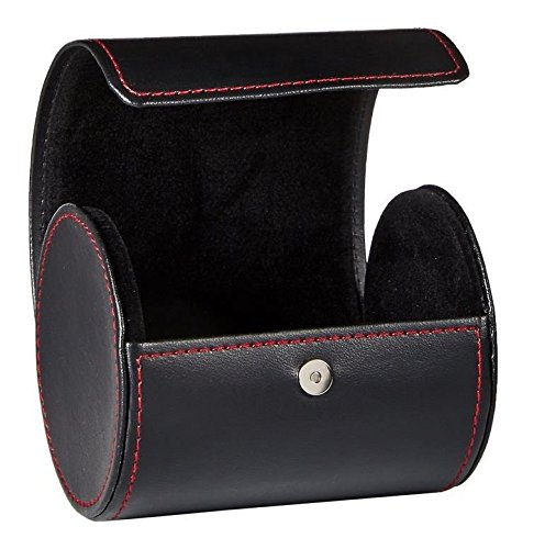 IMIEE Black Leatherette Tie Case for Storage Travel and Gift Box, Cylinder Shape
