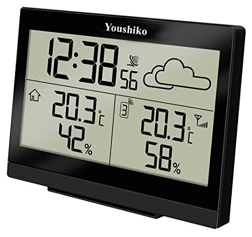 Youshiko Wireless Weather Station ( Premium Quality / Clear Display ) with Radio Controlled Clock ( UK Version) , Indoor Outdoor Temperature Thermometer, Humidity Ice Alert, Easy-to-Read Display