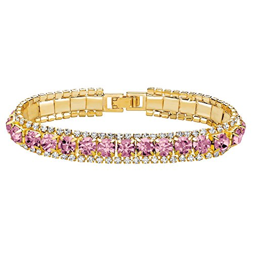 Palm Beach Jewelry Gold Tone Round Simulated Birthstone and Round Crystal, Tennis Bracelet (10mm), Fold Over Clasp, 7 inches Month 6