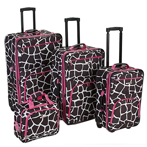 (Rockland Luggage 4 Piece Luggage Set, Pink Giraffe, One Size)