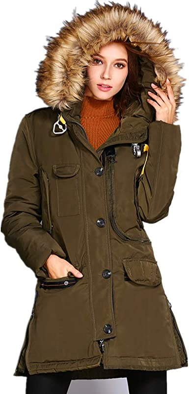 Cromoncent Mens Cotton-Padded Outerwear Down Coat Warm Hoodie Parkas Jackets