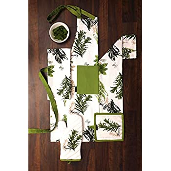 Amour Infini Set of Apron, Oven Mitt, Pot Holder, Pair of Kitchen Towels in a Unique Herb Garden Design, 100% Cotton, Kitchen Linen Set
