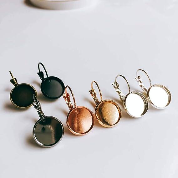 10 pcs Antique Bronze Earring Clips Settings Lever Back Bezels 12mm Glue Pad
