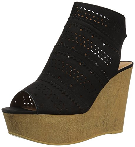 Qupid Women's Wedge Sandal Black Suede Polyurethane uV0OBrF