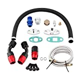 Turbo Return Line Kit, Turbo Feed Line, Limit Oil Flow Design Pressure Resistance Repair Replacement Oil Feed for T3 T4 GT35 T70 T66