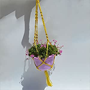 Planta Maceta Colgante, colgador y soporte, abeja–Cuerda de yute para colgar maceta para uso en interiores al aire libre Patio balcón Cubierta Redonda de techo cuadrado recipientes y cestas colgantes