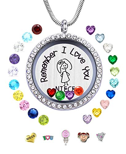 JOLIN Best Niece Gift from Aunt Uncle, Remember I Love You Niece Floating Memory Living Charms Lockets, DIY Birthstones Pendant Necklace