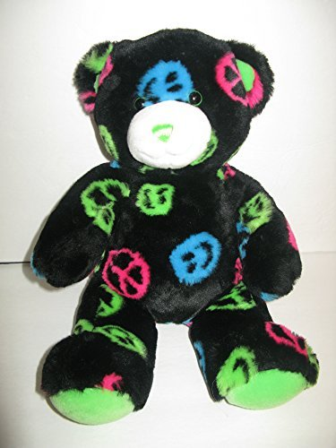 Build-a-Bear Plush Stuff Bear Peace Sign Black Blue Green Pink Plush Build a Bear