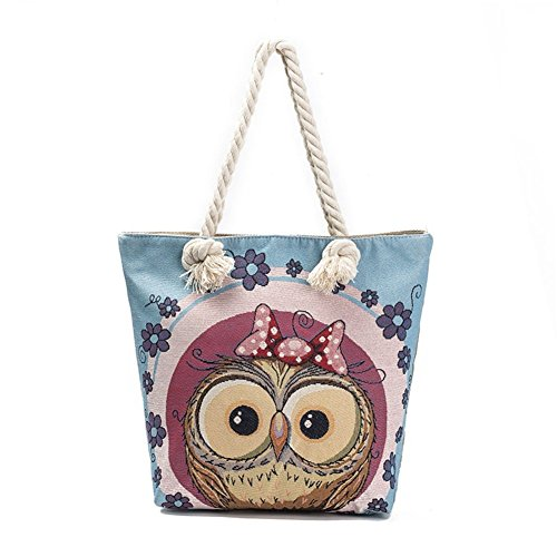 Lovers Canvas Beach Bag Shoulder 1 Travel Owl School owl Handbag Shopping Tote Zippered Ladies Eleoption Jacquard Cute Light Womens Bag qT5fF