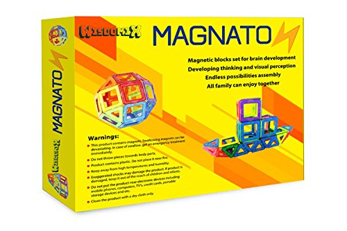 WISDOMIX MAGNATON Magnetic Building Blocks Magnet Tiles Set Kids Toys for Girls and Boys Educational and Creativity Bonus Included