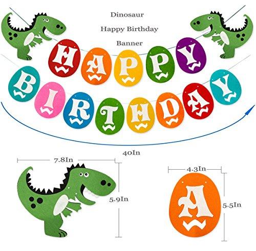 Dinosaur Happy Birthday Banner, Colorful Felt Garland Flag for Dino Jungle Jurassic First Birthday Dinosaur Party Supplies Decorations by Haptda (Image #1)