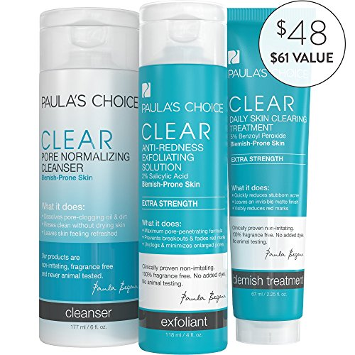 Paula's Choice-CLEAR Extra Strength Acne Kit-2% Salicylic Acid & 5% Benzoyl Peroxide-for Severe Facial Acne and Clogged - Solution Redness Kit Anti