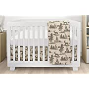 Bebelelo Baby Crib Bedding For Girls And Boys, Green and Beige Deer Mountain Antlers Lead Macon Design, 4-Piece Set Includes Fitted Sheet, Crib Comforter, Comforter Cover, Skirt
