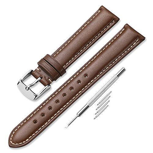 iStrap 18 19 20 21 22mm Genuine Calfskin Leather Watch Band Strap Pin Buckle ()