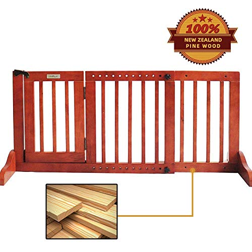 Simply Plus Deluxe Wooden Pet Gate, Freestanding Pet Dog Gate, for Indoor Home & Office Use. Keeps Pets Safe. Easy Set Up, No Tools Required-Small