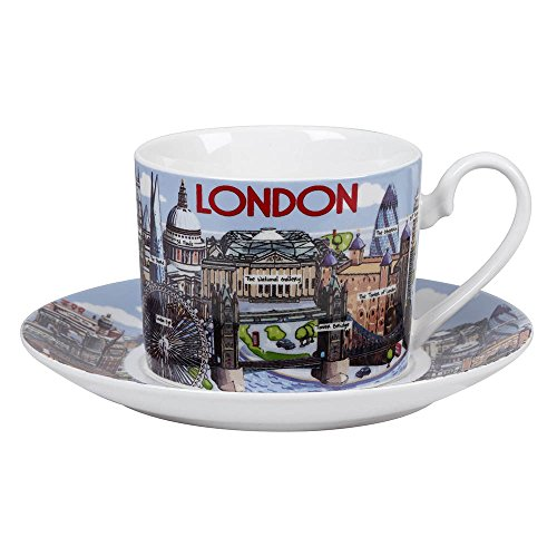 James Sadler Fine China Highlights of London Cup and Saucer, Multi-Colour