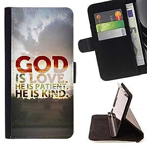 KingStore / Leather Etui en cuir / Samsung Galaxy S6 / BIBLIA Dios es amor