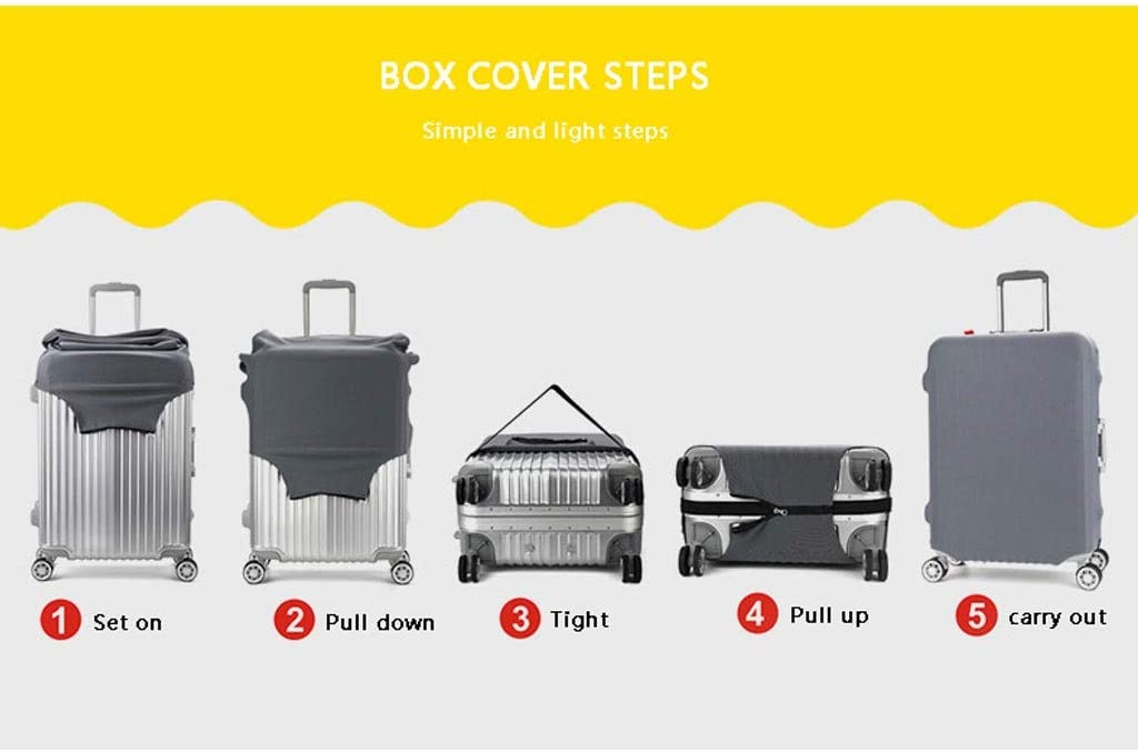 Trolley case Suitcase Cover It Has No Bad Smell Dustproof Wear-Resistant Non-Slip Four Seasons Available Spandex Suitcase Protector for 24-42 inch Elastic Stretch-Seabird Sailor Size : S