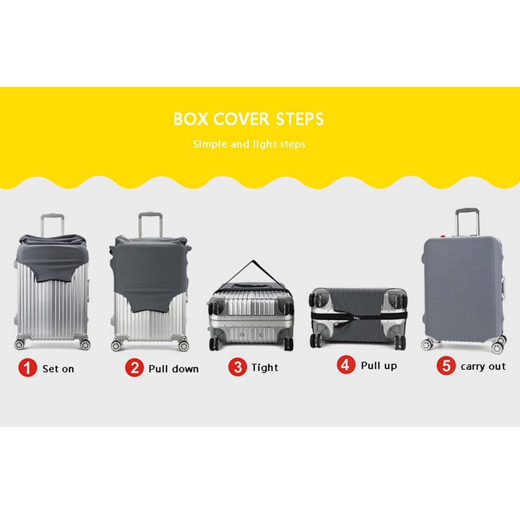 Trolley case Suitcase Cover It Has No Bad Smell Dustproof Wear-Resistant Non-Slip Four Seasons Available Spandex Suitcase Protector for 24-42 inch Elastic Stretch-Square Gradient Size : S